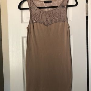 Fitted tan dress